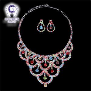 Hancheng Moda strass nuziale Dichiarazione Choker collana di gioielli multicolori Creato collier gioielli di cristallo