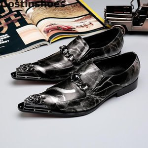 Fashion Men Shoes Black Genuine Leather Leisure Business Shoes Metal Capped Toe Slip-on Men Casual Shoes Low Heel Rubber Outsole