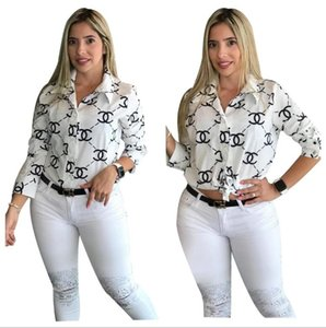 Fashion Women Tops Lapel Printed Long Sleeve Shirts Spring And Autumn Ladies Single Breasted Blouse Designer Brand Loose Type Blouses 999