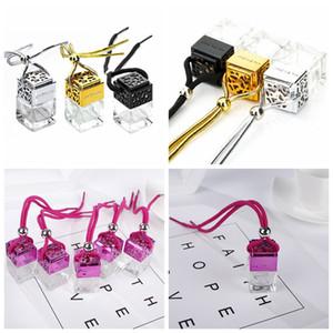 Profumo Cube bottiglia auto Hanging profumo retrovisore Ornamento Deodorante per gli oli essenziali diffusore di profumo vuota GGA1131 bottiglia di vetro