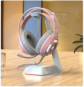 Kız Pembe PC Oyunları Kulaklık Telefon Dizüstü Bilgisayar Kablolu Stereo Hifi Kulaklık LED Işık Oyun Kafa PS4 Oyun Kulaklık Mikrofon