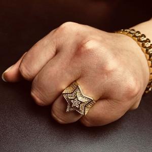 الهيب هوب رجالي الذهب الدائري المجوهرات عالية الجودة خمسة أشار ستار مكعب الزركون الفضة خواتم للرجال