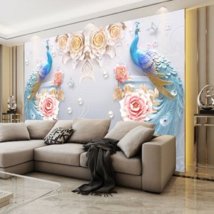 3D mural simple modern flower blooming rich 8D relief peacock TV background wallpaper seamless wall covering wallpaper