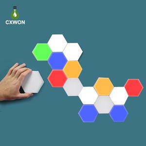 DIY coloré Écran tactile LED lampe Quantum Hexagonal Night Light magnétique Assemblée Applique modulaire pour Home Decor