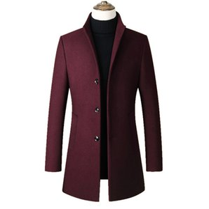 Algodón largo collar de Fashon 2019 hombres de Trench Coats Dropshipping de los hombres de lana capa ocasional de la capa del collar de los hombres delgados de la chaqueta de lana