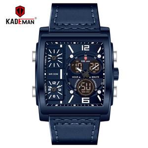 636 KADEMAN Praça Men Watch Dual Display Digital de pulso Homem Esporte Relógios New Relogio Masculino