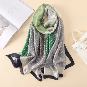 Soft 100% Pure Silk Scarf Brand Women Autumn Polka Dot Hijab Foulard Femme Summer Bohemian Long Bandana Bufanda Mujer New