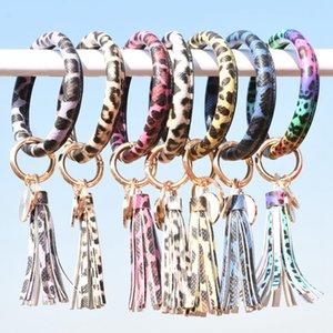Leopard Bracciale in pelle nappa portachiavi Cuoio O Holder chiave del cerchio delle donne del cinturino dell'orologio portachiavi pendente del sacchetto OOA8035