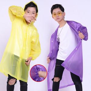 Moda para niños de EVA muchachos de las muchachas del impermeable impermeable espesado capa de lluvia del poncho transparente claro Niños Traje camping con capucha ropa impermeable
