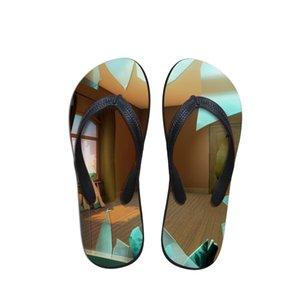 2019 New Spring Fashion spiaggia di estate Flip Flops Pantofole donna sandali della signora dei pattini degli appartamenti Stampa capolavori Rene Magritte Artista