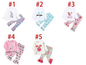 Ostertag Baby Outfits mit Rüschenärmeln Kaninchen Tops + Blumendruck Pant 2ST Set Frühling Herbst Kleinkind-Boutique Kleidung
