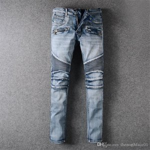 Balmain Jeans Mens Distressed rasgado Biker Jeans Slim Fit Motociclista Denim For Men Marca Designer Hip Hop Mens Pants