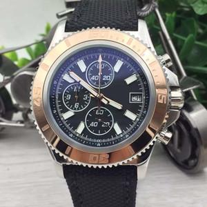 42MM Outdoor Man Watch Superocean Chronograph BR 1884 Chronomat Colt Quartz Gold Steel Bezel Aerospace Black Dial Fabric Strap Relojes para hombre