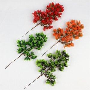 인공 소나무 지점 가짜 플라스틱 해안 송 싸이프레스 인공 소나무 꽃 나무 분재 액세서리 장식 식물