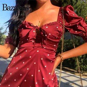 vestidos de satén delgado Puff manga vestido de fiesta retro Bazaleas vacaciones Red Dot mujeres del vestido de impresión de la vendimia ahueca hacia fuera el arco vestidos