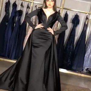 Sexy Plus Размер африканских двух частей Русалка Пром платья 2020 платья Длинные Длинные рукава Дубай арабский Вечерние платья Платье партии