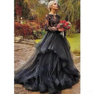 2020 Vestidos Jewel Wedding Floresta Negra Gothic Two Pieces Pescoço Illusion Top completo manga Vestidos de casamento Com Tiered Ruffles Country Style