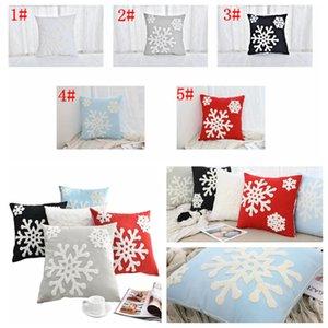 5styles caja de la almohadilla del copo de nieve cubre bordado Línea de algodón banda regalos de la almohadilla del amortiguador de la cubierta Decoración de Navidad 45 * 45cm FFA3000