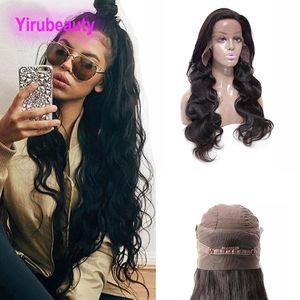 Con pelo del bebé peruana sin procesar humano de la onda del cuerpo 360 de encaje frontal de la peluca Pre desplumados Virgen del pelo de la peluca frontal 360 8-26inch color de pelo natural