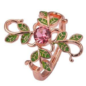 أعلى جودة سحر الزهور شجرة ليف النحاس الدائري حول فرع شخصية الإناث خاتم الأزياء والمجوهرات