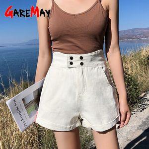 Garemay Estate bianco a vita alta Denim Pantaloncini Large Size allentato vintage wide Blue Jeans Shorts per la donna elegante