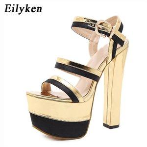Eilyken Gladiator Mulheres Bombas Sexy Golden Stage Super alta capa sapatos de salto da bracelete Sandálias 2020 Verão Y200620