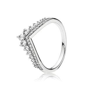 Brilhar Crown Wish Bone CZ Anéis para Mulher Casal geométrica V Forma acoplamento do casamento Anéis presente