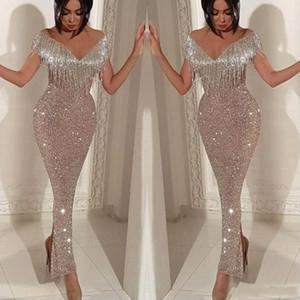 Silber Sparkly Mermaid Quaste Prom Dresses 2019 Afraic Girl Formelle Abendkleid Abendkleider Sexy Sequins Sparkly Pageant Drseses BC0474