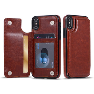For iPhone Xs Max Xr S10 Lite 9 8Plus Wallet Case PU Leather Cell Phone Back Case Cover with Credit Card Slots