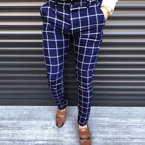 KANCOOLD Akıllı Günlük Pantolon Moda Pamuk Midweight erkek pantolonları Casual İş Slim Fit Ekose Fermuar Uzun Pantolon yazdır