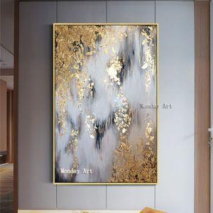 Pintado a mano abstracta moderna de la lona de las pinturas al óleo pinturas de la pared de la sala hogar Decoración pintura al óleo abstracta del oro del cuadro T200118