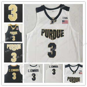 Carsen Edwards Basketball Jersey Purdue Boilermaker # 3 C.Edwards Eblack branco costurado NCAA College Basketball Jerseys Black White Retro
