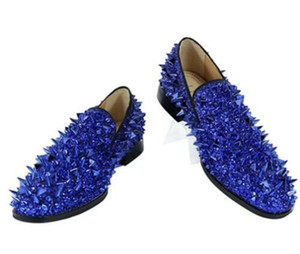 Kave High Quality Slip-on Loafers EU39-EU46 Men Glitter Spiked Shoes Royal Blue Dandelion Flats Wedding Shoes for Men Men
