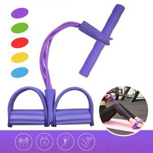 Multifuncional de fitness tensión de la cuerda de abdominales Expander en el pecho Tire Pierna látex Draw cuerda resistencia de la yoga de la banda ejercitador de pedal arrancador 4 tubos de gimnasia