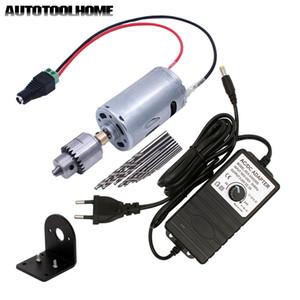 Mini Electric Hand Bohrer Set DC 12-24V Motor JT0 Chuck Netzteil-Adapter mit Terminal DIY Drilling Lochsäge Werkzeuge T200324