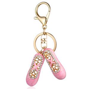 Crystal Bejeweled Ballet Slipper llavero accesorio Charm Key Holder para mujeres llaveros llaveros llavero llaveros regalos creativos