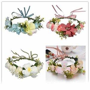 4 색 웨딩 꽃 크라운 화환 수동 지팡이 유미 헤어 후프 여성 인공 꽃 화환 헤어 밴드