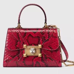 Diseñador de lujo Marca Mujeres Carteras Bolsos Bolsos Clásico de alta calidad Cabeza de tigre Cerradura de bronce antiguo Solapa de cadena de cuero genuino