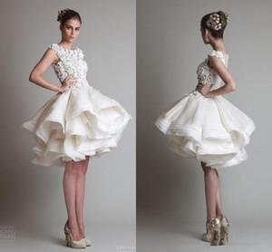 NOUVEAU Krikor Jabotian robes de mariée courte en dentelle manches courtes ivoire de bateau longueur genou dos nu robes de mariage ligne organza arabe