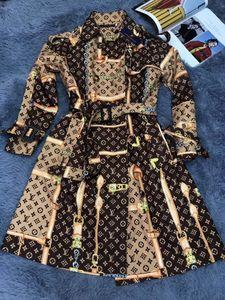 2019 mode chaud femmes classiques angleterre impression robes milieu coupe-vent manteau trench longue fermeture éclair britannique slim femme trench ceinturé vêtements