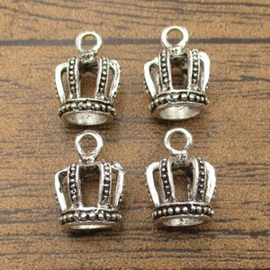 3D Alloy Metal Crown Charms 20PCS Lot 18*14*14mm DIY Jewelry Supplies Pendants Charm Bracelet Tibetan Silver-WY1411