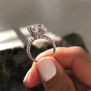 Corona anillo de compromiso 2ct diamante real 925 anillo de la venda de boda del compromiso de plata para las mujeres joyería del partido de los hombres
