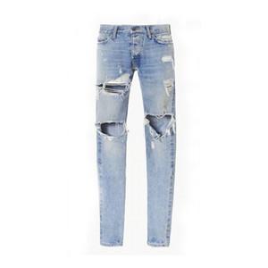 2017 O melhor homem versão FOG Selvedge zipper destruída ajuste magro magro Vintage rasgado azul jeans