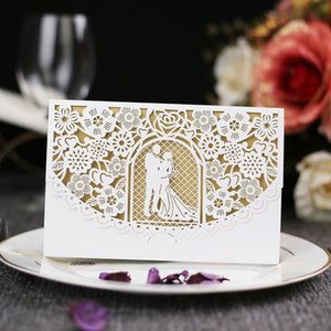 European Style Laser Cut Card Hollow Rose Wedding Invitations Card Paper Cards for Bridal Shower Engagement Birthday Graduation HC04