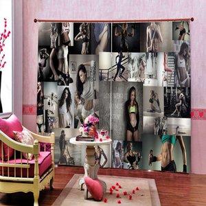 3D Cortina criativa aptidão cortinas para sala de estar Quarto Cortina tema Blackout Silk Curtains Modern