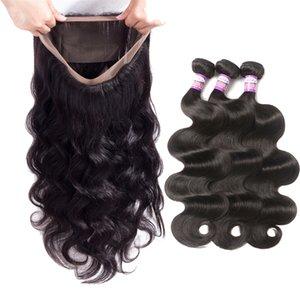 9A onda del cuerpo 360 de cierre frontal del cordón con paquetes pre desplumados con bebé brasileña del pelo del cabello humano de la armadura de la onda del cuerpo del pelo 3 paquetes con 360