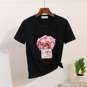 2019 primavera verão mulheres camiseta manga curta floral 3d garrafa de algodão tshirt tops y19072601