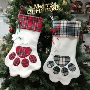"""18"""" Kedi Şömine Noel Ağacı için Pet Noel Stoklama Ekose Hediye Çuval Süsler kolye Köpek Paw Çorap Santa Sack JK1910 Asma"""