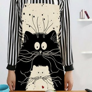 1Pcs Kitchen Apron Cat Printed Sleeveless Cotton Linen Aprons for Men Women Home Cleaning Tools