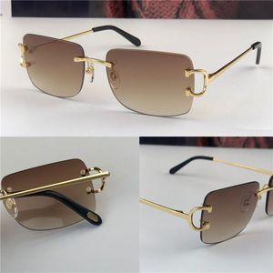 새로운 빈티지 선글라스 남성 디자인 framless 사각형 모양은 UV400 렌즈 골드 빛 컬러 렌즈 0104 선글라스